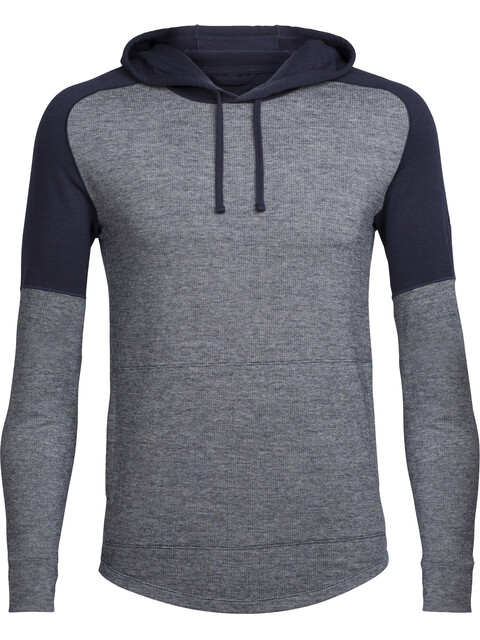 Icebreaker M's Momentum LS Hood Midnight Navy/Snow Heather/Midnight Navy